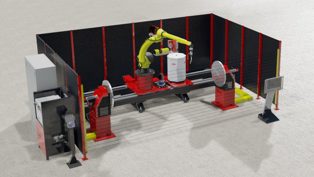 Robot welding cell with infrared light barriers